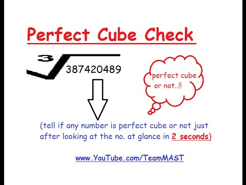 Aptitude trick to check whether a given number is perfect cube or not in 2 seconds | Team MAST