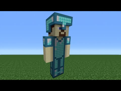 Minecraft Tutorial: How To Make A Diamond Amour Steve Statue