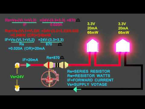 3.3v &3.3v LED how to connect 24V series circuit, how to calculate led series resistor, watts