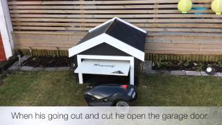 entering garage husqvarna automower 310 robotic lawnmower garasje robotgressklipper. Black Bedroom Furniture Sets. Home Design Ideas