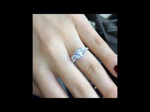 2.50 ct Round Moissanite 3-Stone Engagement Ring