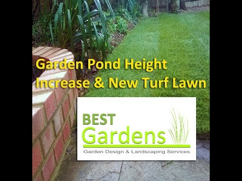 Garden Pond Height Increase & New Turf Lawn