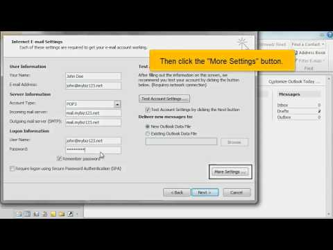Configuring a POP email account in Outlook 2010