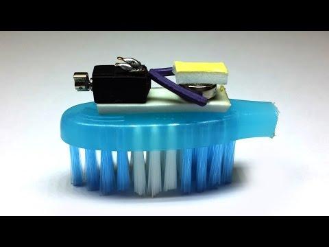 How to Make an Easy Bristlebot    Washing Brush Robot - Life Hacks