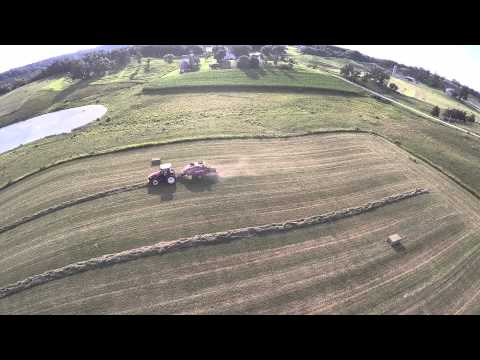 Baling Hay in Wisconsin with a Versatile 260 Tractor and New Holland Big Square Baler