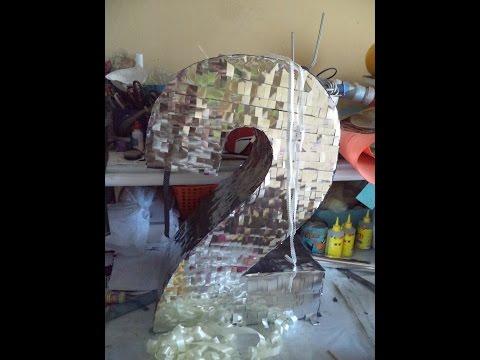 Piñata en forma de numero 2 - How to make a pinata DIY