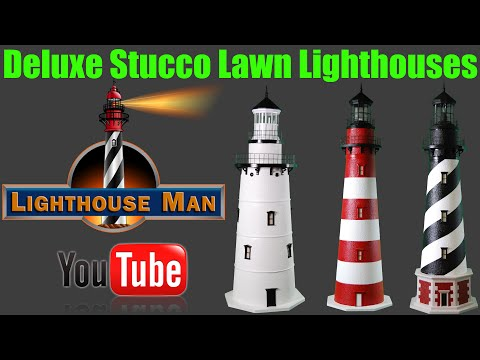 Lighthouse Man - Deluxe Stucco Lawn Lighthouses