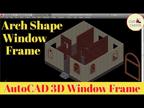 Arch Shape Window Frame in Autocad 3D || window Frame in Arch Shape || CAD CAREER