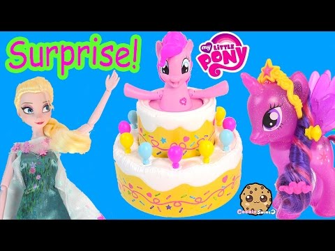 MLP Pinkie Pie Poppin' Jumpscare Pop Out Cake Game with My Little Pony Twilight + Queen Elsa