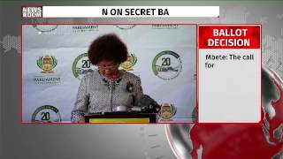 Vote of no confidence in  Zuma will be done through secret ballot: Mbete