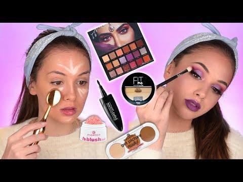 FULL FACE OF FIRST IMPRESSIONS | Huda Beauty Desert Dusk palette | Drugstore Makeup