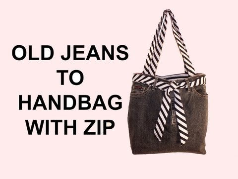 DIY Fashion jean bag (How to make a jean purse with ZIP) DIY Bag Vol 7