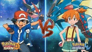 Pokemon Sun and Moon: Kalos Ash Vs Misty (Z-Moves Vs Mega-Evolution)