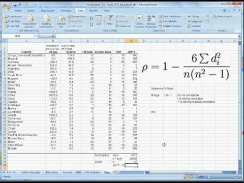 Spearman's Rank Excel 2007