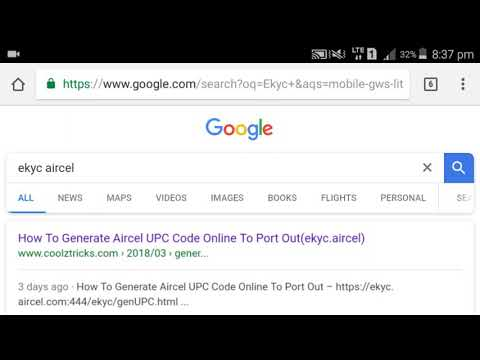 How to port Aircel to any other network and How to get Aircel UPC code