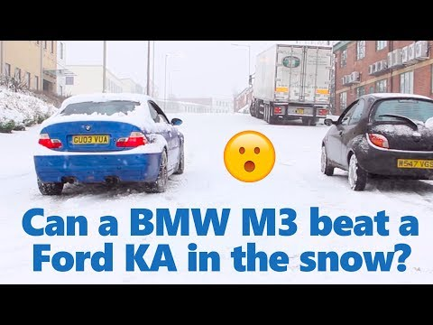 BMW M3 / RWD vs other cars in a snow race - Winter tyre vs summer tyres