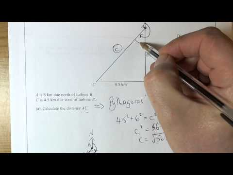 Q15 June 2014 2H   Pythagoras and Trigonometry with bearings