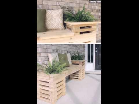 DIY Wood Crate Outdoor Bench