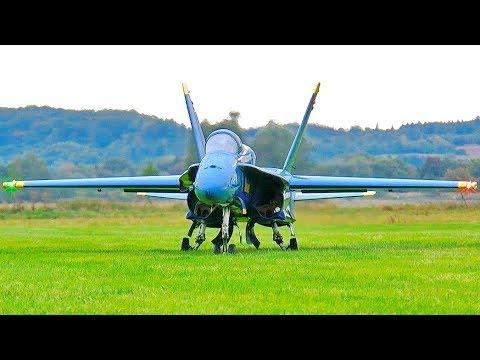 STUNNING AMAZING HUGE RC F-18 BLUE ANGELS SCALE MODEL TWIN TURBINE JET FLIGHT DEMONSTRATION