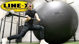 I SPRAYED A GIANT BALL WITH LINE-X!! (LINE-X BALL EXPERIMENT)