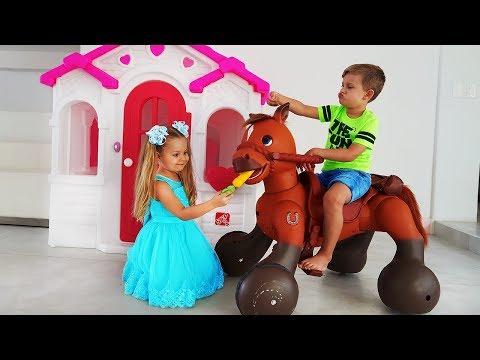 Xxx Mp4 Diana Pretend Play With Ride On Horse Toy 3gp Sex