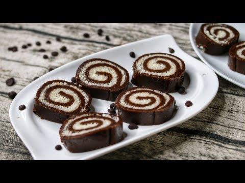 No Bake Swiss Roll Recipe | No Bake Chocolate Swiss Roll Recipe