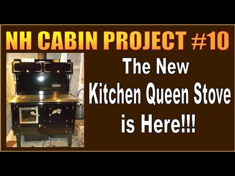 OUR NEW KITCHEN QUEEN WOODBURNING COOKSTOVE IS HERE.  NH Cabin Restoration Project. Part 10