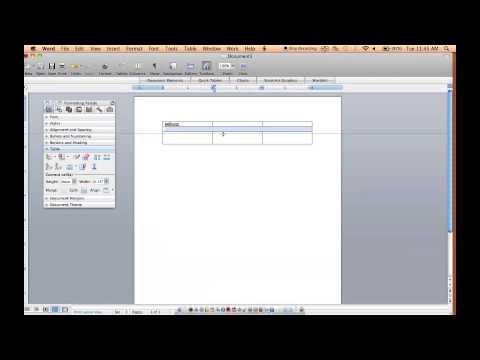 Microsoft Word how to make Tables in Word 2008 for Mac