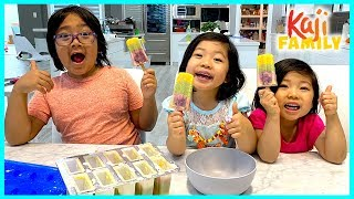 Kids Size DIY How to make Rainbow Popsicles Ice Cream for Kids!!!