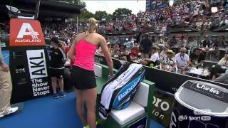 Ostapenko throws her racket at a ballboy