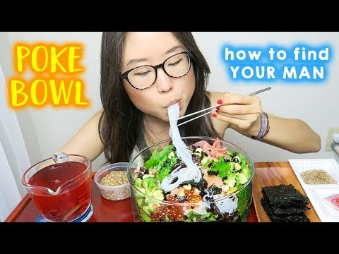 Homemade Poke Bowl MUKBANG ft. Sashimi & Kimchi Natto