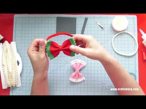 Felt bow with pom pom ribbon tutorial
