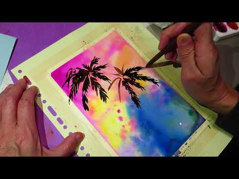 Learn watercolor on recycle paper asmr?