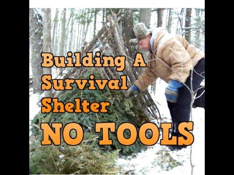 Building a Survival Shelter - NO TOOLS