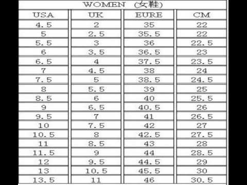 nike shoes size chart