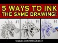 5 Ways To Ink The Same Drawing Narrated Inking Tutorial