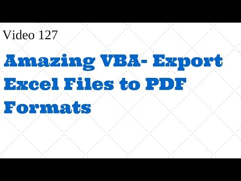 Learn Excel - Video 127- VBA Export Excel files to PDF files
