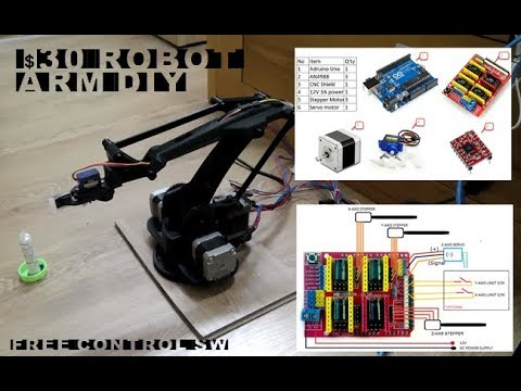 Robot Arm DIY only $30 CNC shield control stepper and servo motor and first test