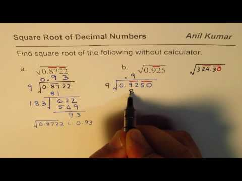 Square Root of Decimal Numbers without Calculator
