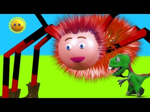 Itsy bitsy spider and more  or incy wincy spider - nursery rhyme song with lyrics -  by a dinosaur!