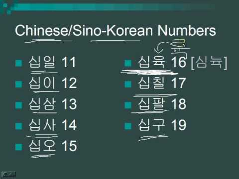 Lesson 24 - Counting in Korean (Chinese or Sino-Korean Numbers)