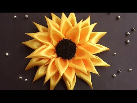 DIY Ribbon Sunflower HairBand For Girls | Kanzashi DIY Hair Accessories | No Sewing Project