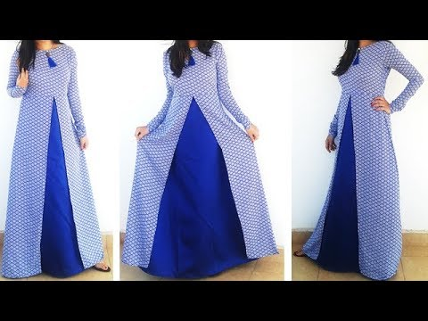 DIY Designer Frontslit Long Gown Maxi Kurti\Dress Cutting And Stitching Tutorial