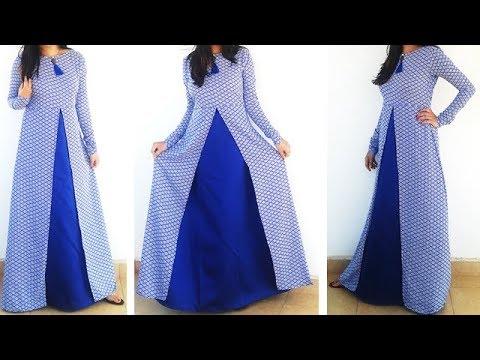 DIY Designer Frontslit Long Gown Maxi Kurti\Dress Cutting And Stitching Tutorial