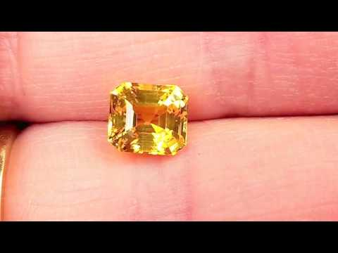 Vivid Rich Yellow Sapphire Loose Gem in Emerald Cut, 8.3 x 7.4 mm, 3.38 Carats