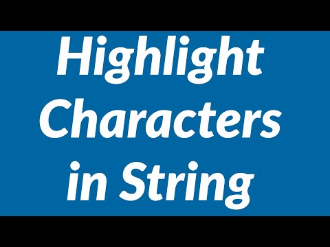 Highlight Characters in String Using VBA