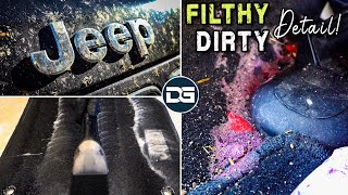 Deep Cleaning a DIRTY Bug-Covered JEEP! | Nasty Jeep Detail and Satisfying Vehicle Transformation