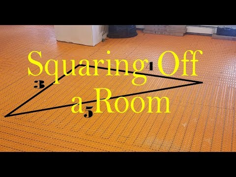 How to Square off a room for a tile floor layout. 📐 3-4-5 Triangle method