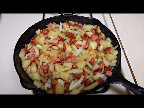 Cast Iron Cooking Kielbasa And Fried Potatoes Recipe