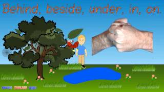 ♫The prepositions and insects/outdoors song for kids!♫ (behind, beside, under, in, on)